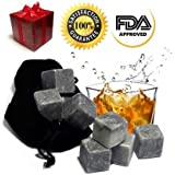 Best Whiskey Stones Gift Set - Soapstone Chilling Rocks and a Velvet Bag to Cool Drinks - 9 Grey Cubes - Stylish Gift Box with Self-Closing Magnet - Does Your Dad, Husband.. Love Scotch?