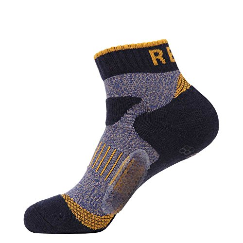 REXY RMMT025 Men's Ankle Atheltic Performance Comfortable Casual Fashion Crew Compression Cushion Balance Nonslip Socks black by REXY