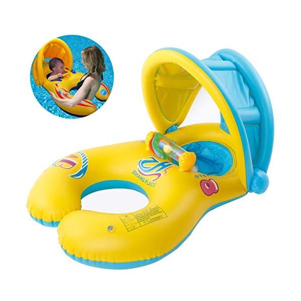 Myir Anello di Nuoto per Bambino Baby Neonati, Salvagente Sicurezza Piscina Sedile Galleggiante con Tettuccio Parasole… 1 spesavip