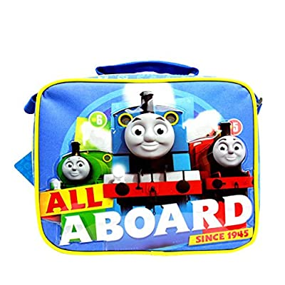 ".com - Team Thomas the Train Engine "" ALL ABOARD"" Canvas Blue Insulated Lunch Bag -"