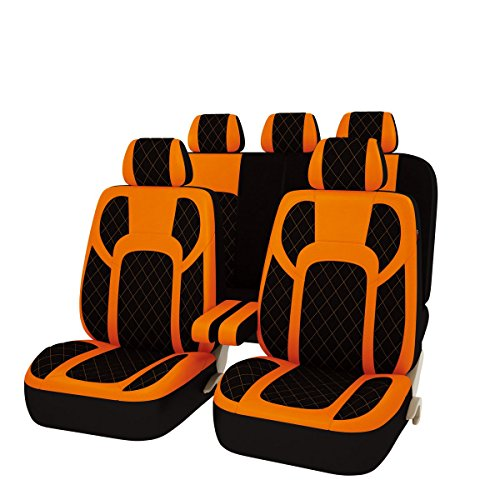 CAR PASS 13PCS Extreme Luxurous PU Leather Automotive Universal Seat Covers Set Package-Universal fit for Vehicles With 5mm Composite Sponge Inside,Airbag Compatible (BLACK AND ORANGE)