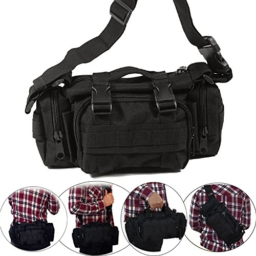 Pack Pouch Waist Utility (Tactical Waist Pack Deployment Bag Military Molle Bicycle/Motorcycle 3P Waterproof Fanny Packs Camera Bag Camo EDC Utility Pouch Crossbody Heavy Duty with Shoulder Strap Hand Carry (Black))
