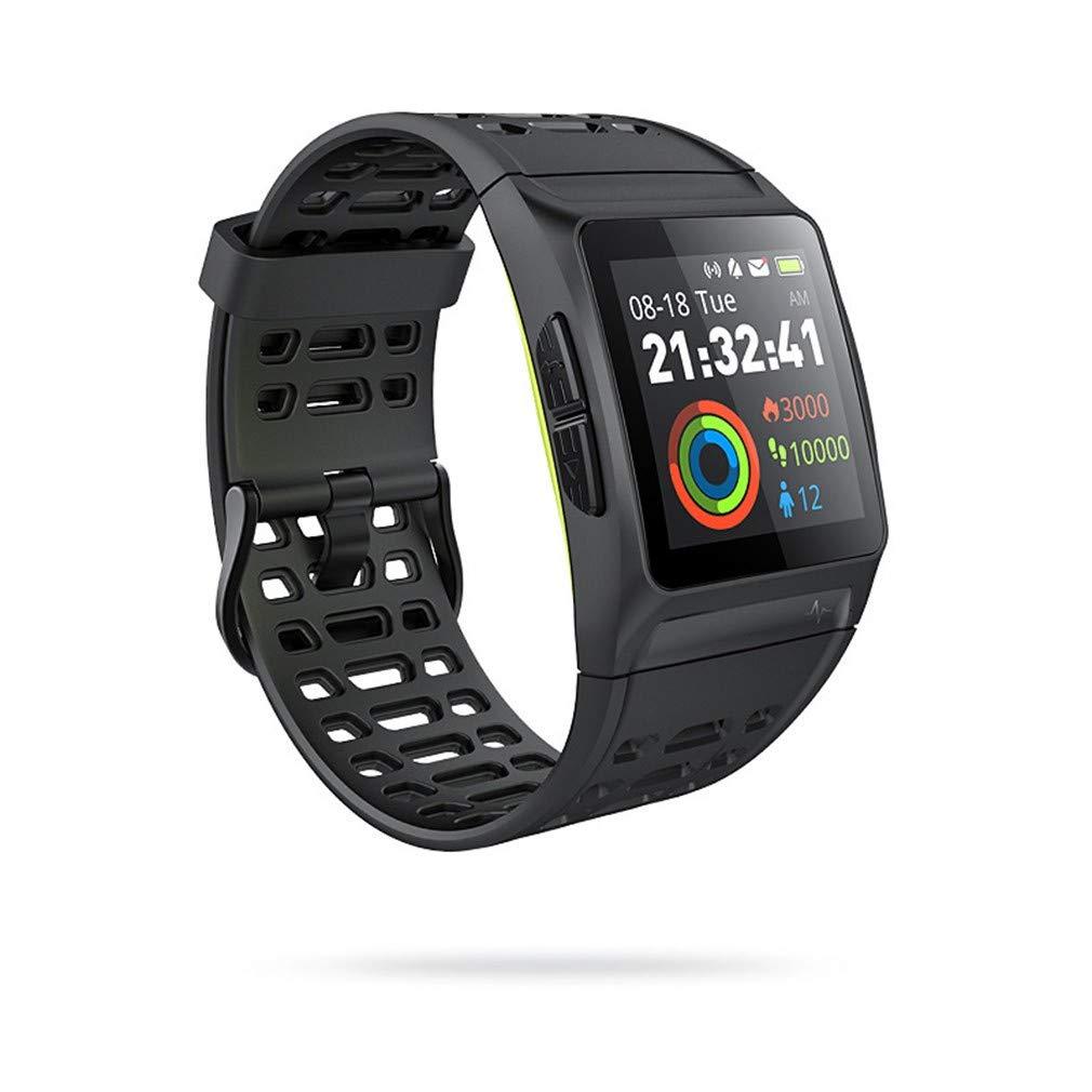 P1スマートウォッチ、水泳GPS多言語ECGスポーツ心拍数ウォッチヘルスモニタリング、50m防水、17のスポーツモード、AndroidとiOS用