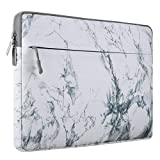 MOSISO Laptop Sleeve Bag Compatible 15-15.6 Inch MacBook Pro, Ultrabook Notebook Computer, Canvas Marble Pattern Protective Tablet Carrying Case Cover, White