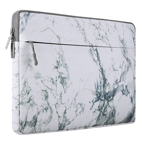 MOSISO Laptop Sleeve Bag Compatible 13-13.3 Inch MacBook Pro, MacBook Air, Notebook Computer with Accessory Pocket, Ultraportable Protective Canvas Marble Pattern Carrying Case Cover, ()