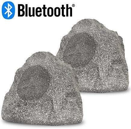 Acoustic Audio RSG8BT Powered Bluetooth Indoor or Outdoor Granite 8'' Rock Speaker Pair by Acoustic Audio by Goldwood