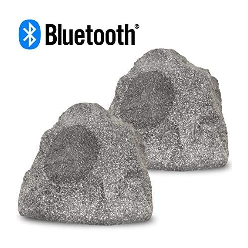 Image of Outdoor Speakers Acoustic Audio RSG8BT Powered Bluetooth Indoor or Outdoor Granite 8' Rock Speaker Pair