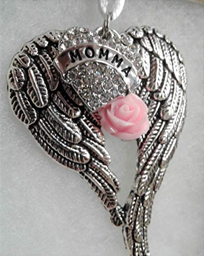 - Momma Memorial Angel Wings Ornament with Pink Rose Charm