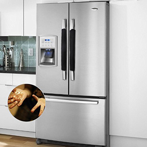 Black Electric Refrigerator (Pawaca Refrigerator Dust Door Handle Covers,Kitchen Electrical Appliances Gloves Fridge Microwave Dishwasher Door Cloth Protector)