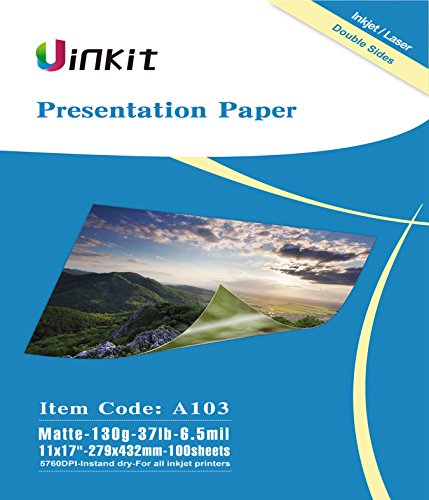 Presentation Paper Matte 11x17 - 100Sheets Uinkit Double Side Matt Paper 6.5 Mil 130Gsm For laser and Inkjet Printer