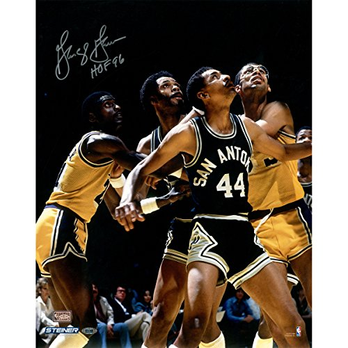 NBA San Antonio Spurs George Gervin Signed Box-Out vs. Lakers 8x10 Photo with HOF 96 Inscription
