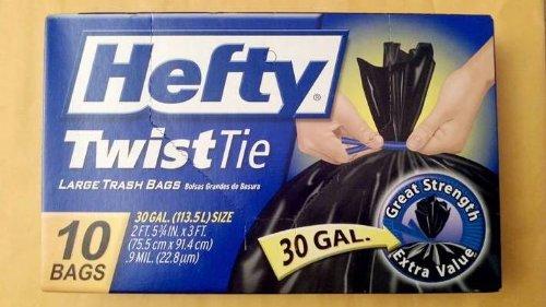 113.5 L. 10 Bags Hefty Twist Tie Large Trash Bags 30 Gal.