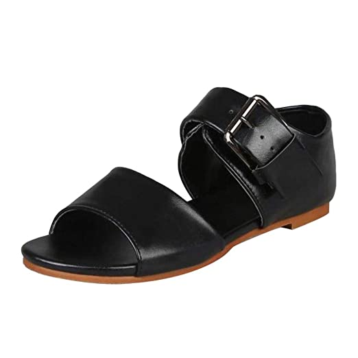 700506c061317 Amazon.com: Boomboom Summer Women Sandals Belt Buckle Sandals Flat ...