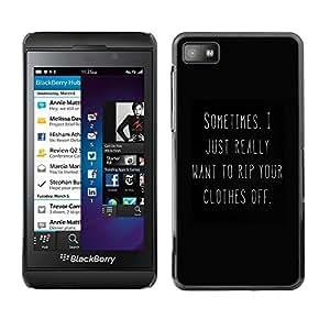 Caucho caso de Shell duro de la cubierta de accesorios de protección BY RAYDREAMMM - Blackberry Z10 - Black White You Text Hot