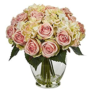 Nearly Natural 1837 Rose and Hydrangea Bouquet Artificial Silk Arrangements Pink 48