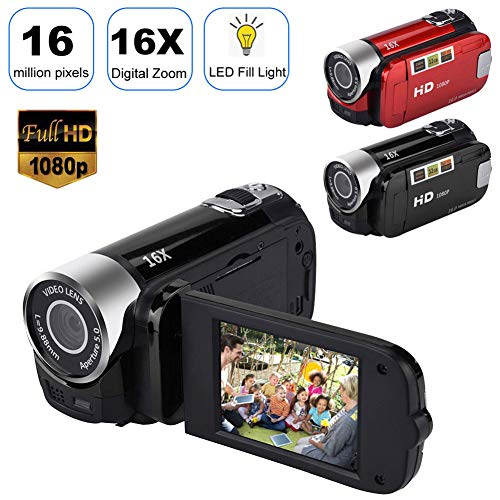 Digital Video Camcorder DV Camera 1080P FHD, 2.7'' TFT LCD Handheld 16MP WiFi DVR with Night Vision & 270 Degree Rotation, 16X Digital Zoom(Black)