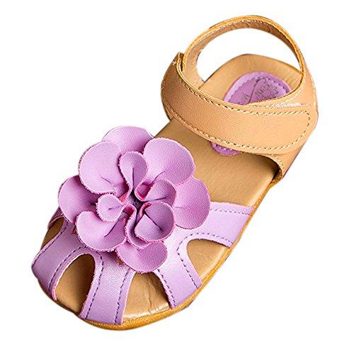 bescita Mädchen Schuhe Kühlen Sommer Sandalen Skidproof Kleinkinder Kinder Kind Blume Schuhe (25, Lila)