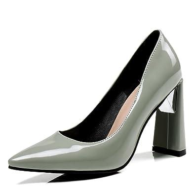 2f973599e4e38 OALEEN Escarpins Vernis Femme Sexy Bout Pointu Talon Haut Bloc Soirée  Mariage Bureau Chaussures Gris 43
