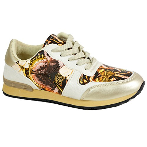 Ladies Womens Floral Lace up Trainers Running Gym Sneakers Casual Shoes Size UK Beige