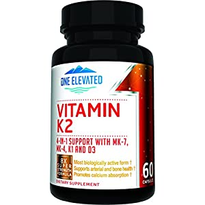 8X Strength Natural Vitamin K2 Formula. Provides 4 in 1 Support with MK 7, MK 4, K1 and D3 with Maximum Absorption for Stronger Bones and Cardiovascular Health 60 Capsules