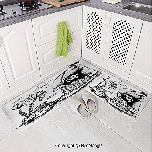 2 Piece Indoor Modern Anti-Skid Carpet Printed Block Bathroom Carpet,Pirate,Drawing of Palm Trees and Sailboat Danger Sign Flag Antique Vessel Treasure Island Decorative,Black White,20x31in,20x59in (Black Sails Characters Based On Real Pirates)