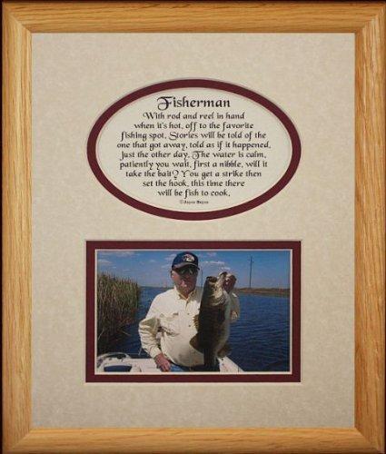 8 x 10 Fisherman Bild & Poetry Foto Geschenk Rahmen  creme Burgund Matte  Großartiges Andenken Geschenk für A Fisherman von Classy Crafts INC