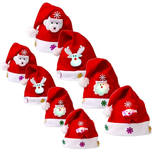 Sumind 8 Pieces Christmas Hats LED Santa Hat Santa Claus Hat for Christmas Party Favors (Adult and Kids Size)