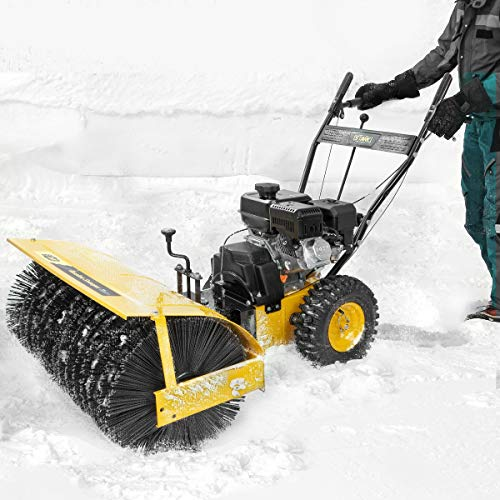 "Stark 31""-Inch Gas-Powered Snow Sweeper Walk Behind Adjustable Angle Brush Broom 7HP Gas Engine EPA Motor"