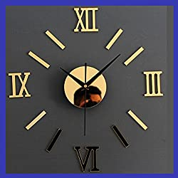 Alrens(TM)Gold Roman Numerals Acrylic Creative DIY Mirror Wall Clock 3D Wall Sticker Home Decoration Self Adhesive Mural Decal Living Room Bedroom Digital Clock Decor Art