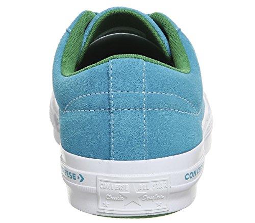 Converse Unisex-adulti Di Stile Di Vita A Una Stella Scarpe Bue Camoscio Fitness, Blu Nero (oceano Hawaiian / Jolly Verde 486)