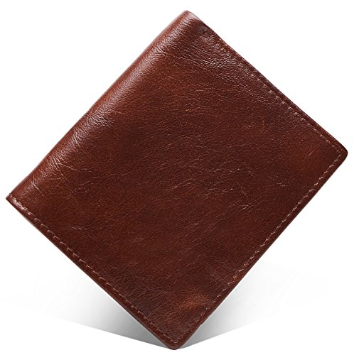 Box Top Wallet - Men's Wallet, Top Grain Leather ID Window Multi-Currency Slim and Compact Bifold Wallet, Free Gift Box, Brown Vertical Style, b8w009br