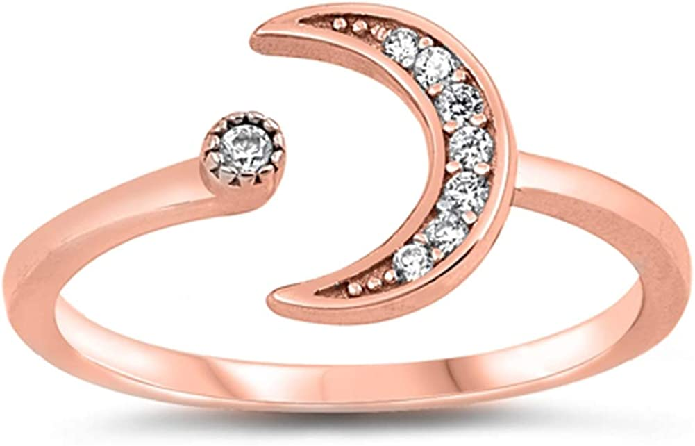 Promise Ring Rose-Gold-Tone Crescent Moon Star New .925 Sterling Silver Band Sizes 5-10