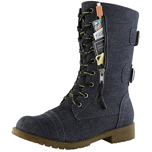 DailyShoes Women's Combat Boot Ankle Mid Calf Low Heel Lace Up Zip Pocket Buckled Lace-ups Height Increasing Cow Down Fashion Short Knee High Exclusive Credit Card Boots Blue,Denim,13