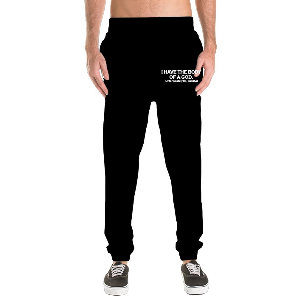 207bcc51f Wxf Men I Have The Body Of A God Black Classic Mountaineering Light Weight  Jersey Pants Adjustable Sweatpants at Amazon Men's Clothing store: