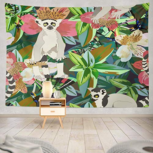 Deronge Cute Forest Animals Tapestry Wall Art Decor, Tapestry Wall Hanging Decor Watercolor Two Striped White Black Tropical Forest Green 60