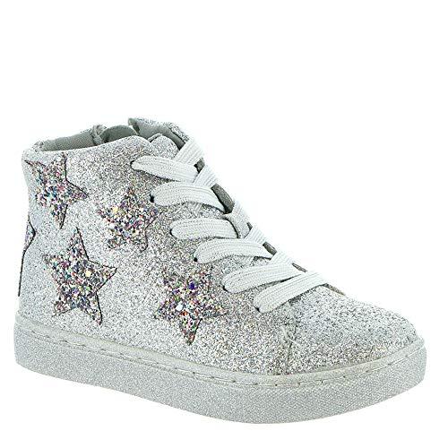 Steve Madden Girls' TAUSTINN Sneaker, Silver, 12 M US Toddler (High Top Sneaker Girls)