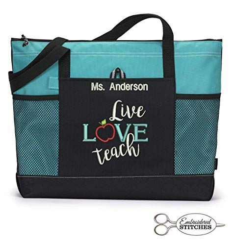Personalized Teacher Zippered Tote - Live Love Teach