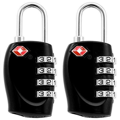 AMOS Lucchetto a Combinazione TSA Approvato Accettato Codice di 4 Cifre Ripristinabile Serratura di Sicurezza per Viaggio Bagaglio Valigia Borsa Armadietto (2 x Nero)