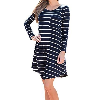 Faldas Largas Mujer Rayas, Zolimx Vestidos Mujer 2018 Baratos Moda de Otoño de Mujer de