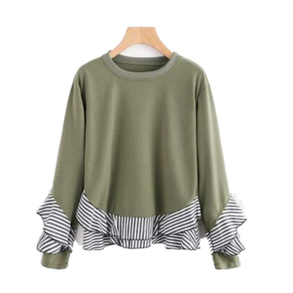 WYIZ Gestreifte Seite Rundhalsausschnitt Langarm Damen Sweatshirt Damen B07GT1CHQZ Pullover & Sweatshirts Mode dynamisch
