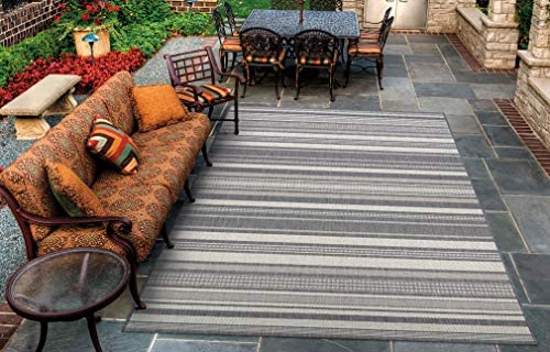Couristan Recife Gazebo Stripe Indoor Outdoor Area Rug, 5 3 x 7 6 , Champagne-Grey