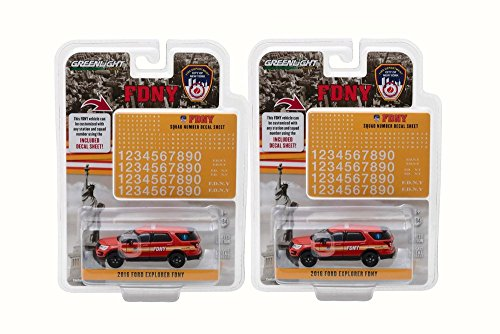 Greenlight Box 12 Diecast Model Cars - 2016 Ford Fire Department City New York (FDNY) FDNY Squad Number Decal Sheet, Red, 1/64 ()