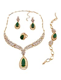 Women Gold Plated Green Resin Bead Necklace Bracelet Earring Ring Party Set