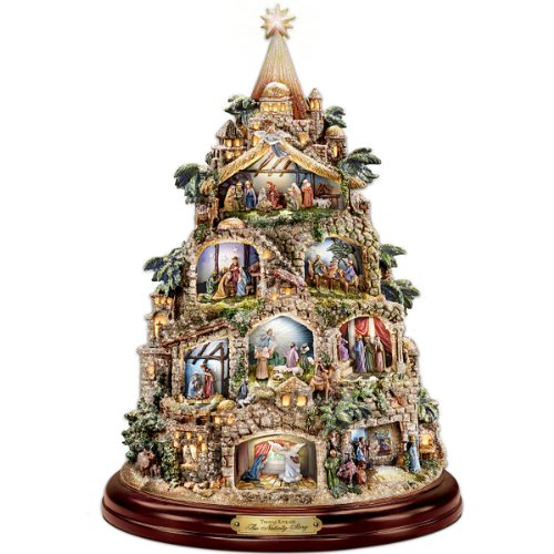 The Nativity Tree Tabletop Centerpiece Presented And Narrated By Thomas Kinkade by The Bradford Exchange