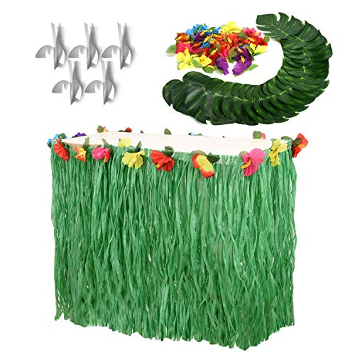 (Moana Party Supplies Set-1 Pack Grass Table Skirt 9ft,24 Pcs Tropical Faux Palm Leaves,24 Pcs Hibiscus Flowers with 5Pcs Adhesive Hook & Loop for Hula, Luau, Maui, Hawaiian, Moana Themed)