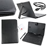 DURAGADGET Black Faux Leather QWERTY Keyboard Case with Bluetooth Connection - For Dell Venue 10 Pro 5000 Series/Dell Venue 11 Pro/Dell Latitude 11 5000 -Plus BONUS Micro USB Charger Cable