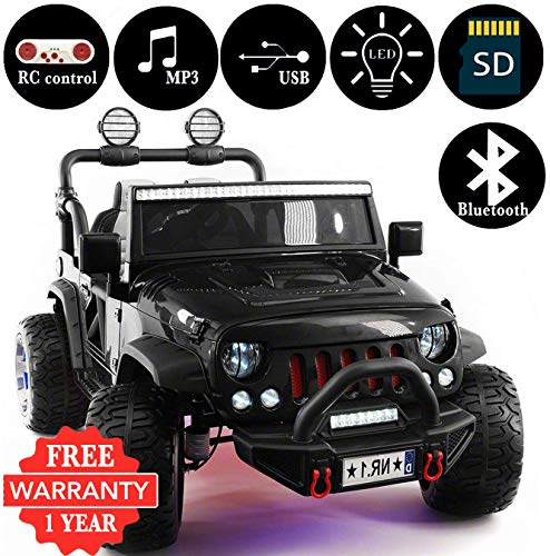 2019 Explorer 2 (Two) Seater 12V Kids Ride-On Car Truck with R/C Parental Remote + EVA Rubber LED Wheels + Leather Seat + MP3 Player Bluetooth FM Radio + LED Lights (1 Year Warranty) (Black) (Best Electric Cars 2019)