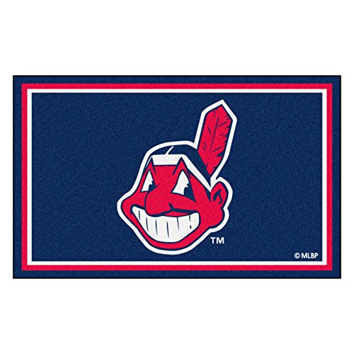 FANMATS MLB Cleveland Indians Nylon Face 4X6 Plush Rug by Fanmats