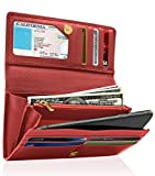 Leather Clutch Wallets For Women - Ladies Accordion Organizer RFID Blocking Wallet