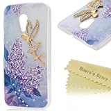 Moto G2 Case,Motorola Moto G 2nd Gen Case - Mavis's Diary® 3D Handmade Bling Crystal Golden Butterfly Fairy Pretty Purple Flowers with Shiny Sparkle Diamonds Clear Cover Hard Case for Motorola Moto G 2nd Generation 2014